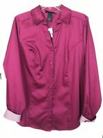 Lane Bryant Button Front Blouse Top Shirt-Career-Contrast Cuff-Plum-Size 18-NWOT