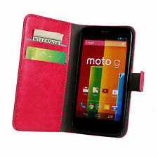Pink Moto G Motorola Xt1033 Genuine Leather Flip Wallet Card Case Cover Stand