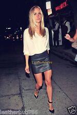 New Sexy Hot Mini Skirt Genuine Lambskin Black Leather Women Party Office 139