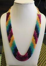 "7 Strand Natural Multi Sapphire,Ruby,Emerald Gemstone Necklace 18"" Christmas"