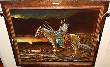 SANCHEZ INDIAN WOMAN & CHILD ON HORSE ORIGINAL ACRYLIC VELVET WEATERN PAINTING