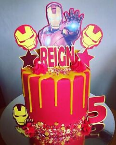 IRON MAN PERSONALISED GLITTER CARD CAKE TOPPER PACK