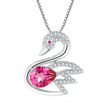 Natural Pink Topaz Sterling Silver Swan Pendant Necklace Gifts For Her