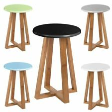 43 Cm Premier Housewares Viborg Bamboo Round Stool Breakfast Bar Rest Kitchen