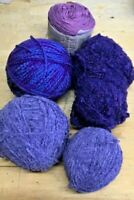 Lot 300g -Purples-Used & New-Knitting Yarn-Doll Making-Spinning-Felting-Craft-O2