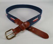 Leather Man Ltd Canvas Belt Boat Ship Yacht Ribbon Brass Buckle 32 Blue