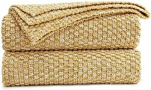 Nice! Cable Knit Blanket 60x80 in Gold 100% Cotton Knitted Blanket Home Decor