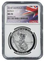 2015 P Australia 1oz Silver Koala NGC MS70 - Flag Label