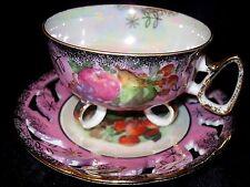 Footed TEA CUP & SAUCER LIPPER & MANN CREATIONS Japan Dark PINK Gold Gilded