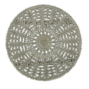 MADE TO ORDER Dynasty Hand Carved Indian Solid Wood Round Wall Decorative Panel