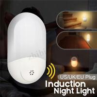 2 LED PIR Motion Sensor Night Light Bathroom Lamp Lighting Bulb Plug In US/UK/EU