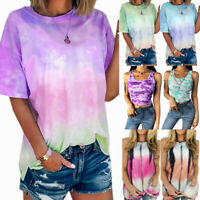 Fashion Womens Summer Gradient Tie Dye T-Shirt Casual Lady Blouse Tops Plus Size