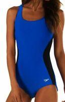 SPEEDO Illusion Splice UltraBack Powerflex Blue Black 1pc Swim Suit Womens 8 34