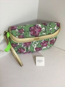New Coach Wristlet Bag Floral F45326 Green Purple Gold Canvas Leather B15