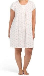 NWT MISS ELAINE SILKYKNIT FLORAL BOUQUETS S/S WALTZ NIGHTGOWN GOWN $49 2X 2XL