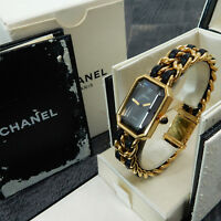 Rise-on CHANEL Premiere L Size Gold Plated Black Leather Ladies Wrist Watch #34