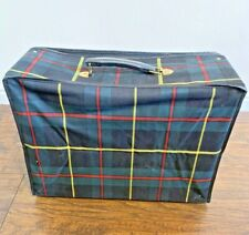 Vintage Plaid Luggage Folding Suitcase Retro/carry on 60's 70's Green Black Red