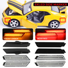 For 2010-2015 Chevy Camaro Signal Light Smoked LED Side Marker Front&Rea