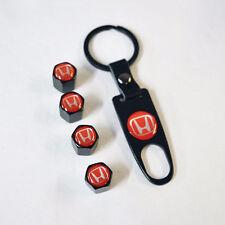 Black Car Wheel Tire Valve Dust Stems Air Caps Keychain With Red Honda Emblem