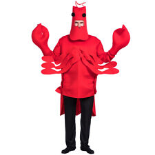 Unisex Adults Red Lobster Halloween One-piece Cosplay Costume with Helmet Gloves