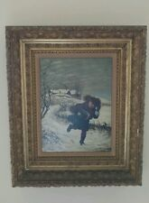 ANTIQUE EARLY 19th CENTURY OIL PAINTING WINTER SCENE SIGN J S S