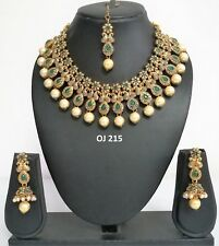 Indian Fashion Jewelry Bridal Wedding Kundan Crystal Necklace Earring Set OJ 215