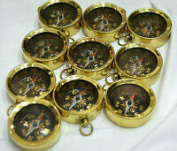 COMPASS Key Ring Brass Vintage LOT OF 10 PCS Golden Finish Collectible Best Gift