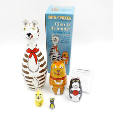 Nesting Doll Cat & Mouse Set, 5 Hand Painted Wood Figures, Cleo & Friends