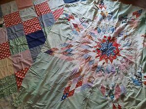Lot 2 Vintage Quilt Top Unfinished Cutter Star Patchwork Feedsack