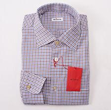 NWT $795 KITON NAPOLI Sky Blue-Cocoa Brown Check Dress Shirt 16 x 36 Modern-Fit