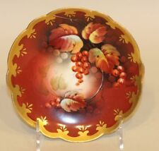 Pickard Limoges France Artist Signed Vokral 6 Inch Dish Saucer Red Currants Gold