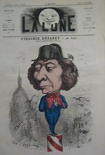 ACTRICE THEATRE DEJAZET CARICATURE de GILL JOURNAL SATIRIQUE LA LUNE 1867