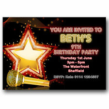 10 Personalised Birthday Party Invitations Invites Popstar Karaoke Music Y17