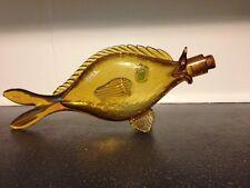 "Vintage Crackle Glass Large Amber Fish Blenko? 15.5""x 6.5"" With Original Cork"