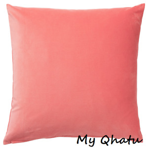"Ikea SANELA Pillow Cushion Cover 20"" x 20"" Velvet Cotton Light Brown-Red (Coral)"