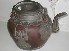 Antique Chinese YIXING Clay Teapot w/ Partial Pewter Overlay