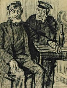 Fritz WIMMER 1879 - 1960 - Two Flemish Fischer IN One Pub
