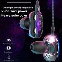 HIFI Super Bass Headset Dual Driver Earphone Wired Headphone Earbud 3.5mm Jack