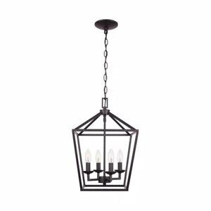 Home Decorators Collection Weyburn 4- Light Bronze Caged Chandelier 46201