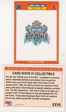 1993 Pro Set Super Bowl XXVII Card Show IV Promo