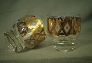 pair small vintage old Cocktail rocks bar glasses gold diamond geometric barware
