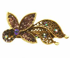 ConMiGo DC20110 burgundy red equined crystal embellished on gold hair clip