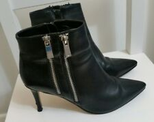 Dune Black Faux Leather Pointed Toe Ankle Boots Size 4 37 Stiletto High Heel