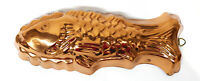 "Vintage Copral Copper Fish Mold Jelly Mold 13"" L x 4.75"" H 2.25"" D"