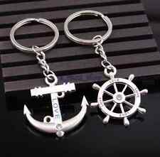 2pcs Navy Style Couple Lovers Pendant Anchor & Rudder Key Chain Ring Keychain IF