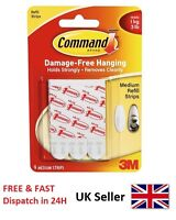 3M Command Medium Strips Picture Poster Hanger Hook Refill Replace Damage Free