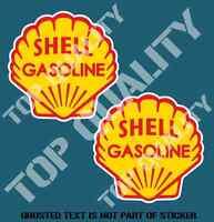 VINTAGE SHELL GASOLINE OIL Decal Sticker X2 Vintage Mancave Garage Stickers