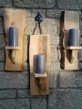 1 HANDMADE RECLAIMED RUSTIC SHABBY WOOD WALL MOUNTED PILLAR SCONCE CANDLE HOLDER