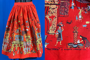 Vintage Millworth Corp. Hacienda Novelty Print Fabric Red Cotton Circle Skirt