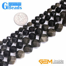 Natural Faceted Semi Precious Stone Golden Black Obsidian Jewelry Making Beads